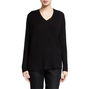 Eileen Fisher Black V-Neck Diagonal Sweater Medium